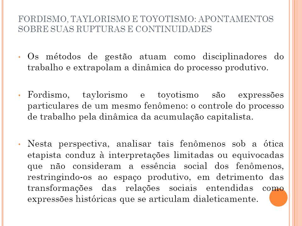 FORDISMO, TAYLORISMO E TOYOTISMO: APONTAMENTOS SOBRE SUAS RUPTURAS E CONTINUIDADES Os métodos de gestão atuam como disciplinadores do trabalho e extra