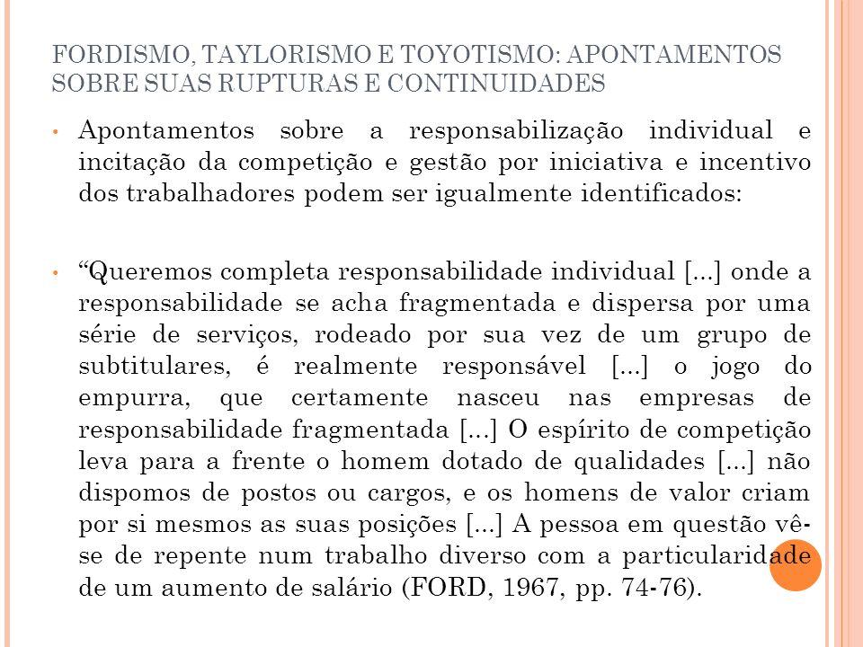 FORDISMO, TAYLORISMO E TOYOTISMO: APONTAMENTOS SOBRE SUAS RUPTURAS E CONTINUIDADES Apontamentos sobre a responsabilização individual e incitação da co