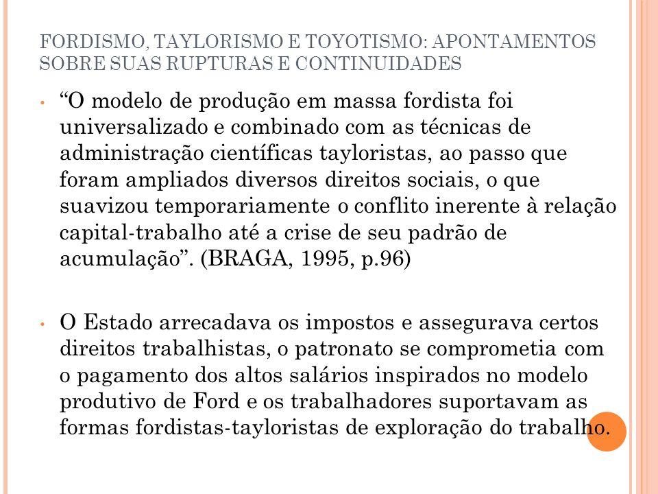 FORDISMO, TAYLORISMO E TOYOTISMO: APONTAMENTOS SOBRE SUAS RUPTURAS E CONTINUIDADES O modelo de produção em massa fordista foi universalizado e combina