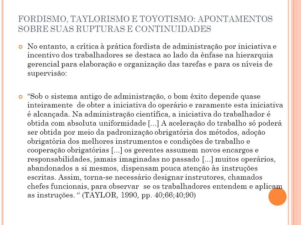 FORDISMO, TAYLORISMO E TOYOTISMO: APONTAMENTOS SOBRE SUAS RUPTURAS E CONTINUIDADES No entanto, a crítica à prática fordista de administração por inici