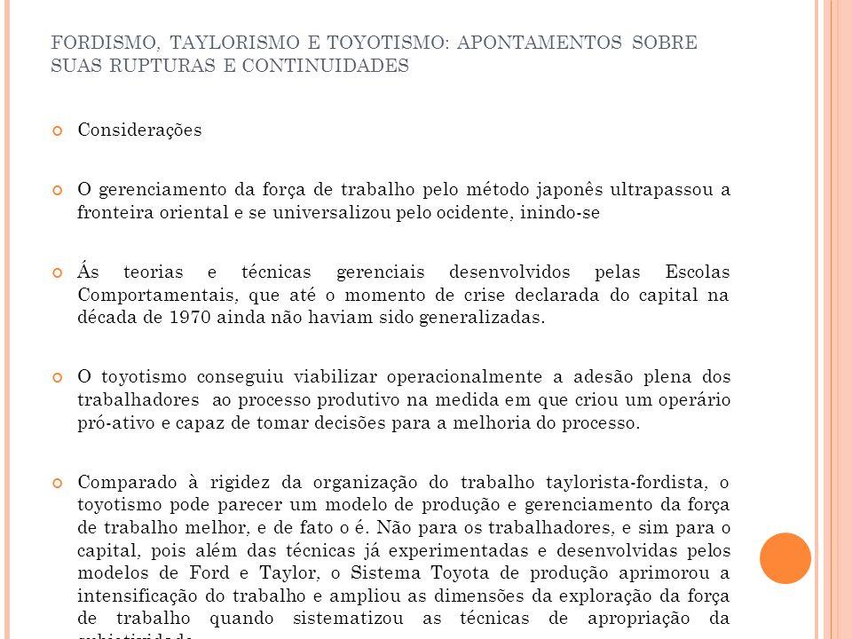 FORDISMO, TAYLORISMO E TOYOTISMO: APONTAMENTOS SOBRE SUAS RUPTURAS E CONTINUIDADES Considerações O gerenciamento da força de trabalho pelo método japo