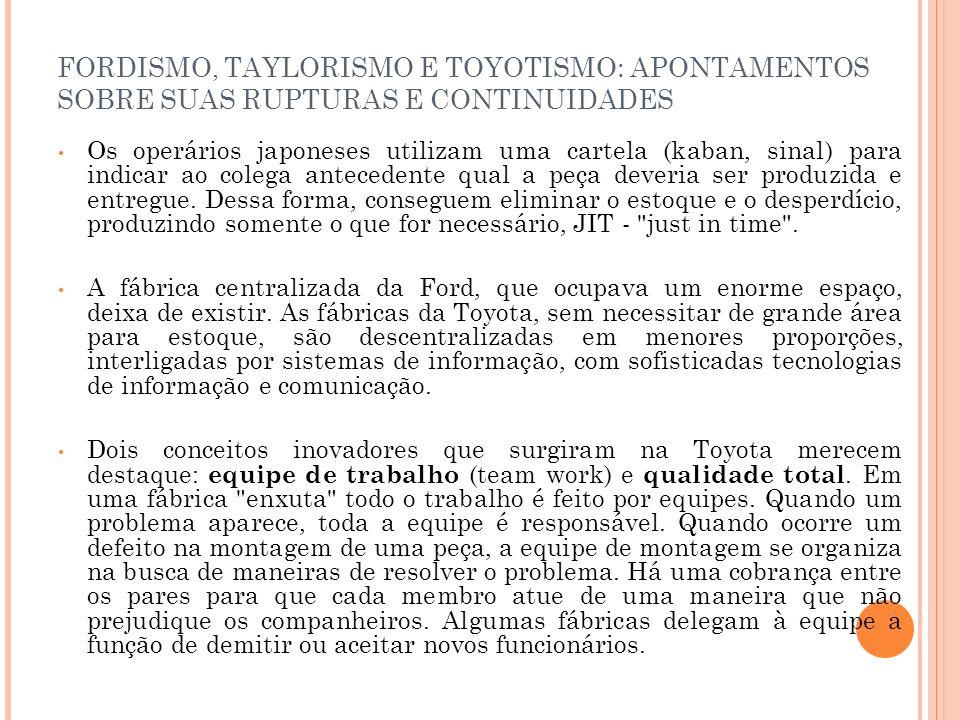 FORDISMO, TAYLORISMO E TOYOTISMO: APONTAMENTOS SOBRE SUAS RUPTURAS E CONTINUIDADES Os operários japoneses utilizam uma cartela (kaban, sinal) para ind