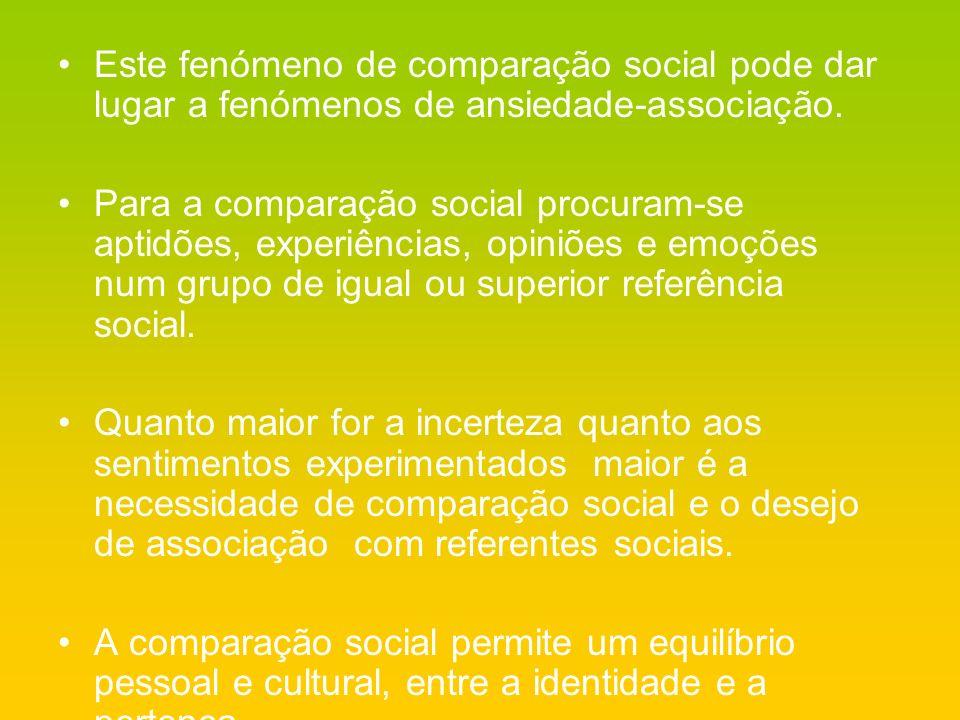 Este fenómeno de comparação social pode dar lugar a fenómenos de ansiedade-associação. Para a comparação social procuram-se aptidões, experiências, op