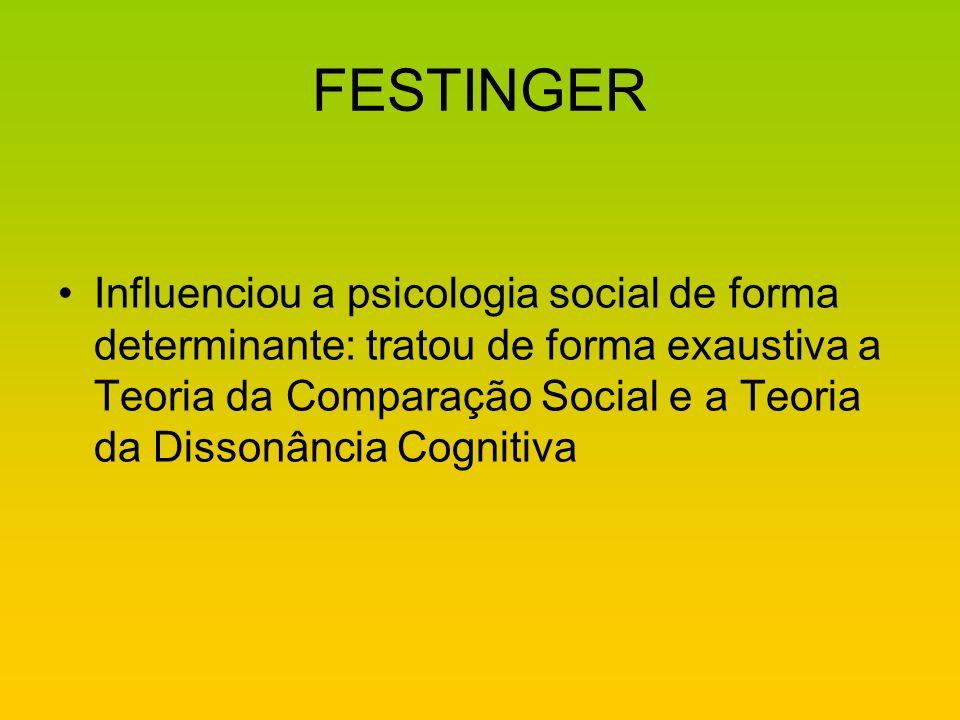 FESTINGER Influenciou a psicologia social de forma determinante: tratou de forma exaustiva a Teoria da Comparação Social e a Teoria da Dissonância Cog