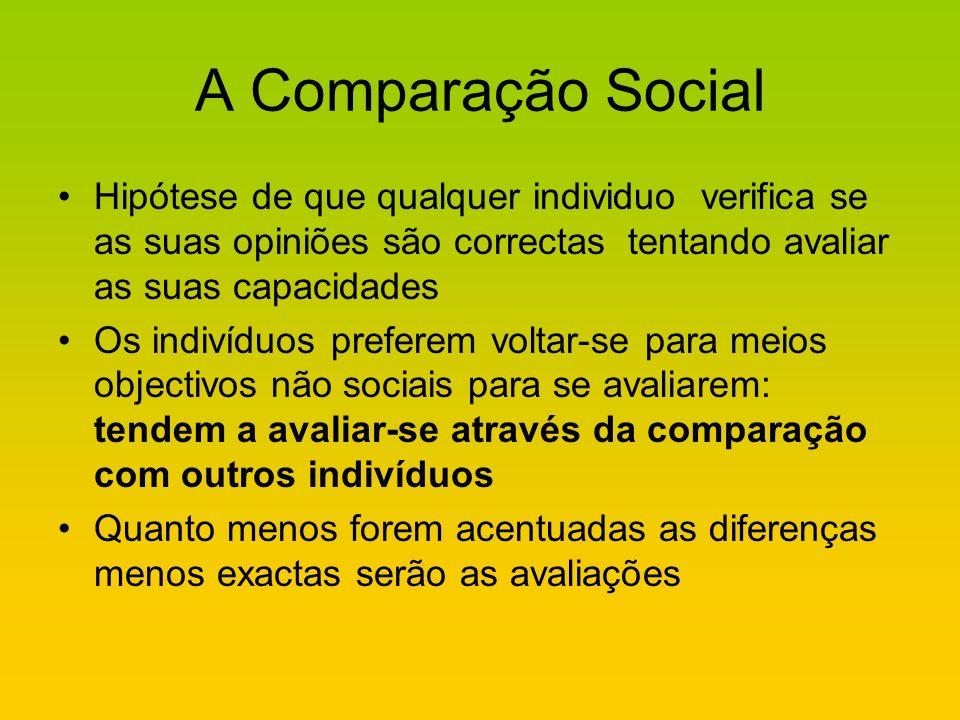 A Comparação Social Hipótese de que qualquer individuo verifica se as suas opiniões são correctas tentando avaliar as suas capacidades Os indivíduos p