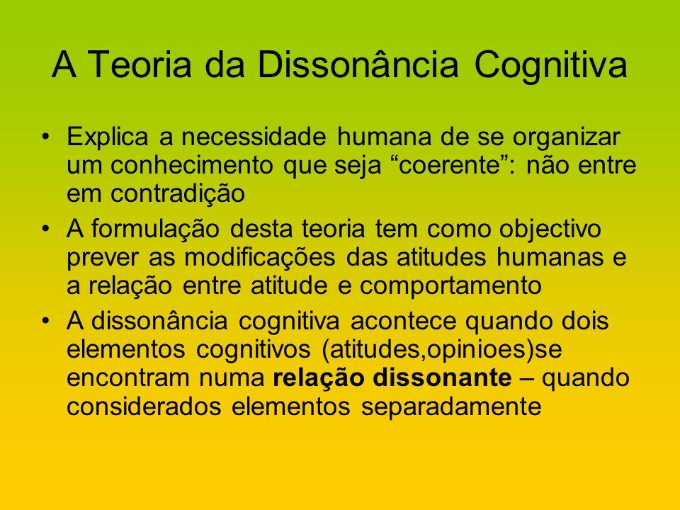 A Teoria da Dissonância Cognitiva Explica a necessidade humana de se organizar um conhecimento que seja coerente: não entre em contradição A formulaçã