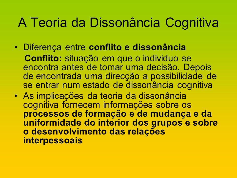 A Teoria da Dissonância Cognitiva Diferença entre conflito e dissonância Conflito: situação em que o individuo se encontra antes de tomar uma decisão.