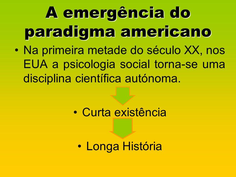 A emergência do paradigma americano Na primeira metade do século XX, nos EUA a psicologia social torna-se uma disciplina científica autónoma. Curta ex