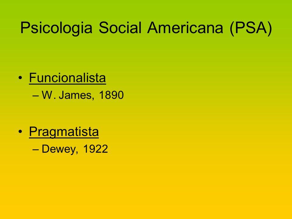 Psicologia Social Americana (PSA) Funcionalista –W. James, 1890 Pragmatista –Dewey, 1922