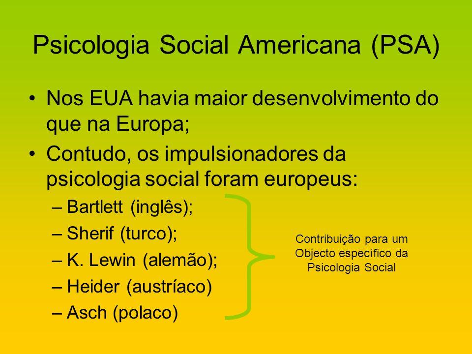 Psicologia Social Americana (PSA) Nos EUA havia maior desenvolvimento do que na Europa; Contudo, os impulsionadores da psicologia social foram europeu