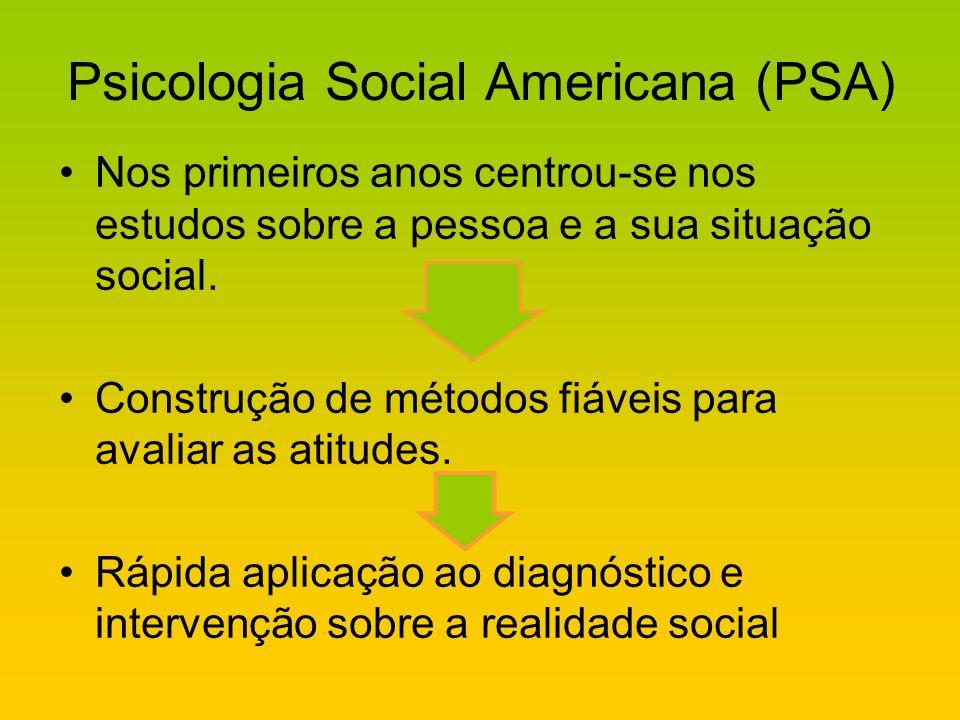 Psicologia Social Americana (PSA) Nos primeiros anos centrou-se nos estudos sobre a pessoa e a sua situação social. Construção de métodos fiáveis para