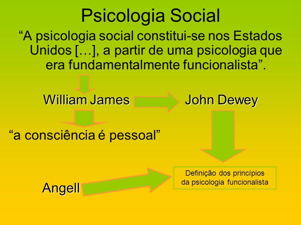 Psicologia Social A psicologia social constitui-se nos Estados Unidos […], a partir de uma psicologia que era fundamentalmente funcionalista. William