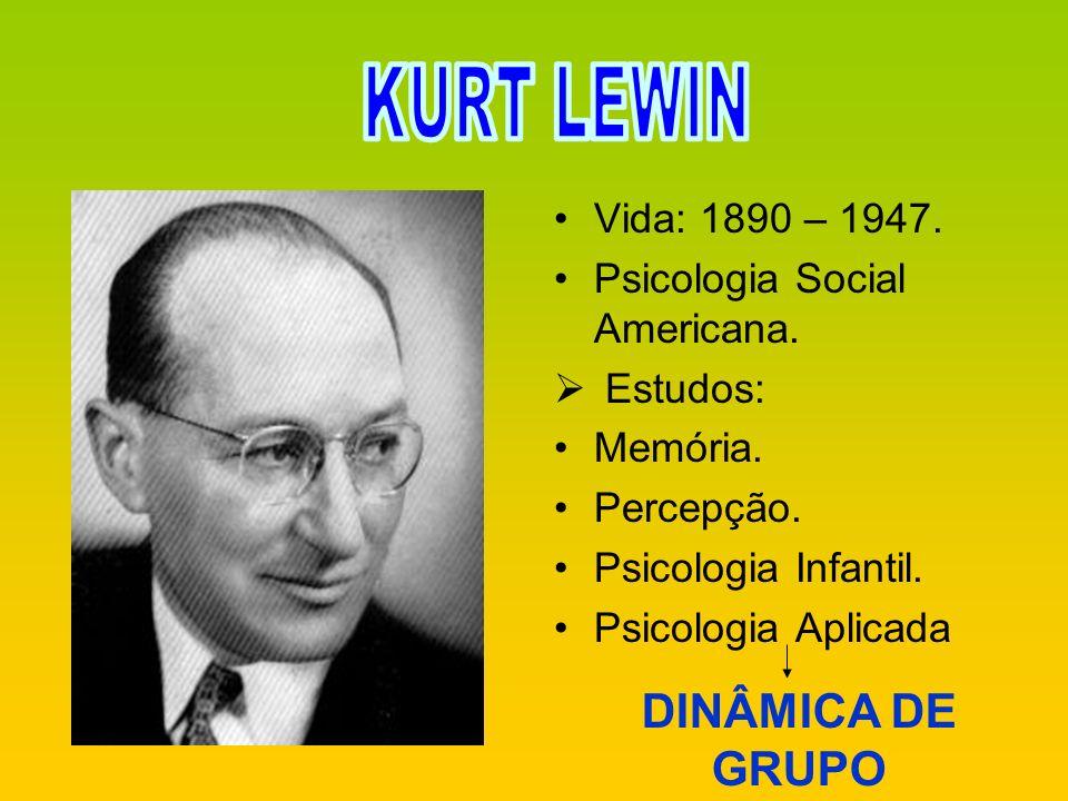 Vida: 1890 – 1947. Psicologia Social Americana. Estudos: Memória. Percepção. Psicologia Infantil. Psicologia Aplicada DINÂMICA DE GRUPO