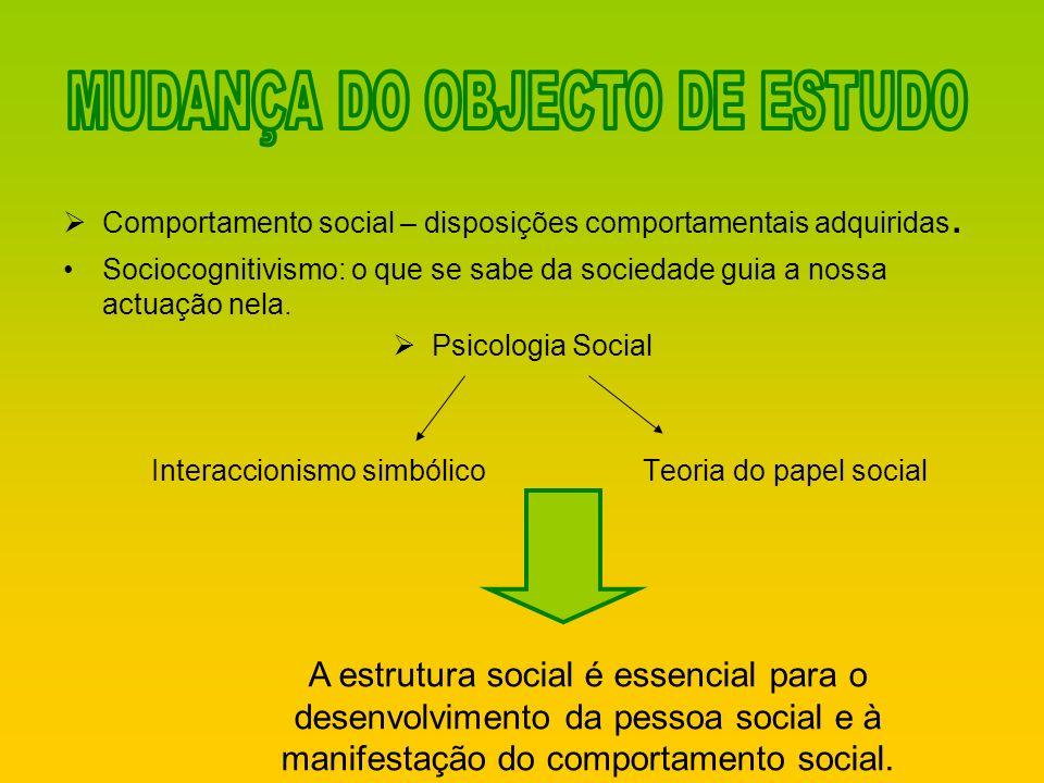 Comportamento social – disposições comportamentais adquiridas. Sociocognitivismo: o que se sabe da sociedade guia a nossa actuação nela. Psicologia So
