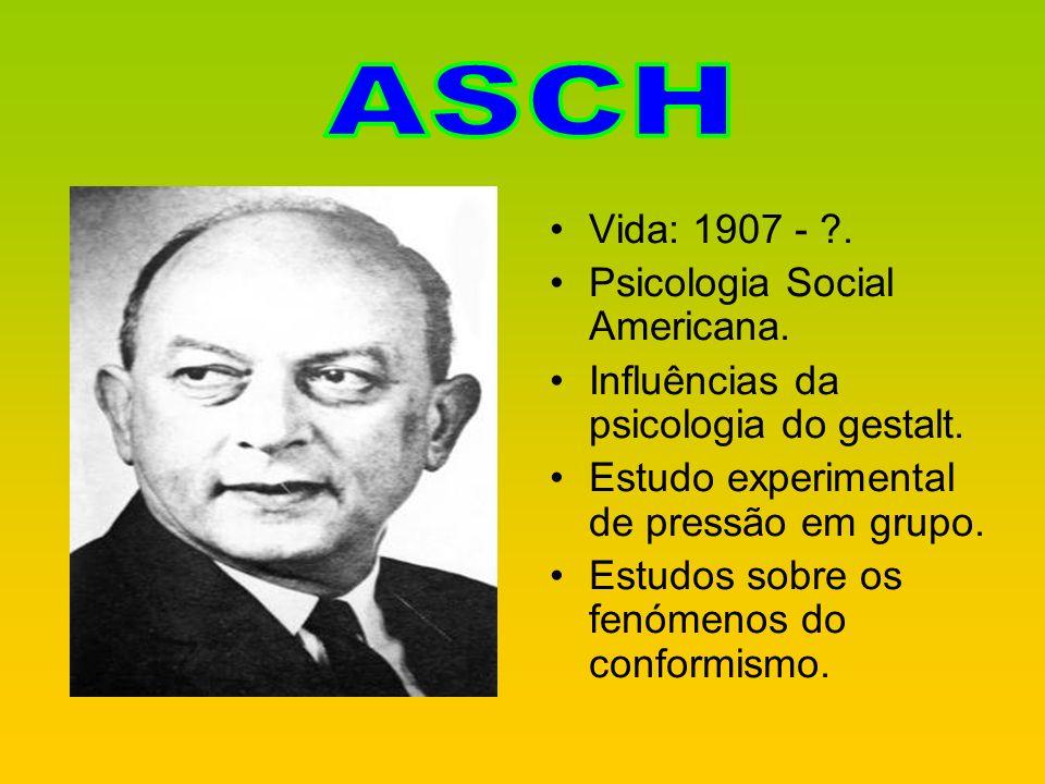 Vida: 1907 - ?. Psicologia Social Americana. Influências da psicologia do gestalt. Estudo experimental de pressão em grupo. Estudos sobre os fenómenos
