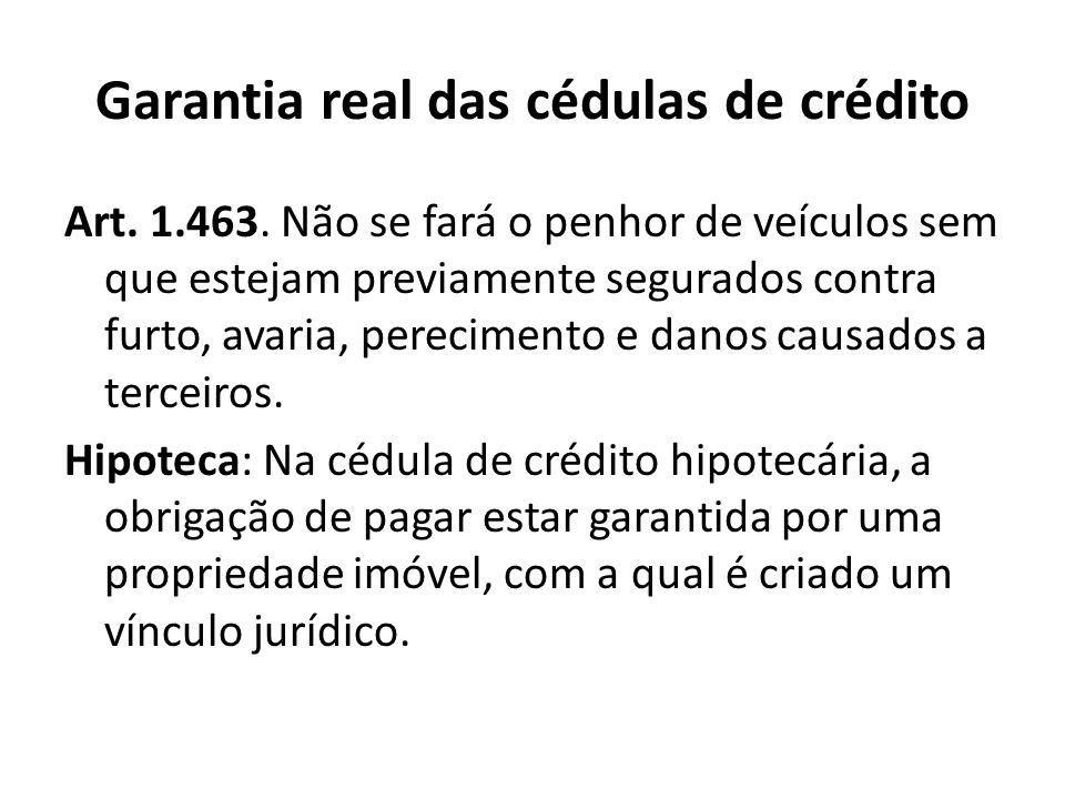 Garantia real das cédulas de crédito Art. 1.463. Não se fará o penhor de veículos sem que estejam previamente segurados contra furto, avaria, perecime