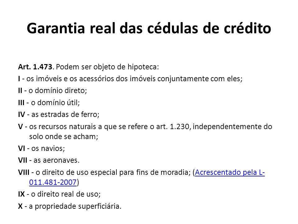 Garantia real das cédulas de crédito Art. 1.473. Podem ser objeto de hipoteca: I - os imóveis e os acessórios dos imóveis conjuntamente com eles; II -