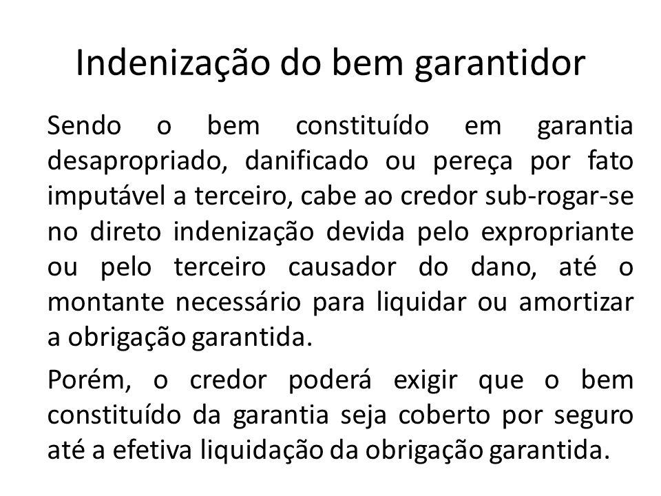 Indenização do bem garantidor Sendo o bem constituído em garantia desapropriado, danificado ou pereça por fato imputável a terceiro, cabe ao credor su
