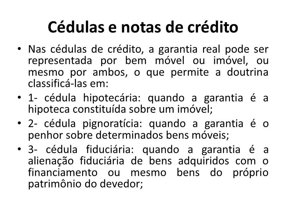 Cédulas e notas de crédito Nas cédulas de crédito, a garantia real pode ser representada por bem móvel ou imóvel, ou mesmo por ambos, o que permite a