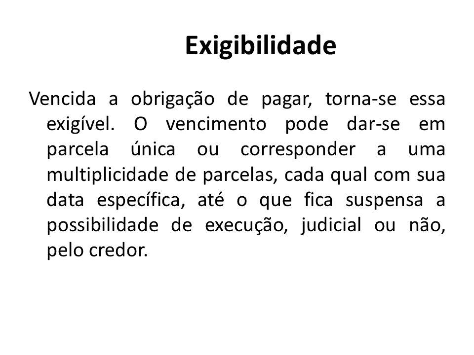 Exigibilidade Vencida a obrigação de pagar, torna-se essa exigível. O vencimento pode dar-se em parcela única ou corresponder a uma multiplicidade de