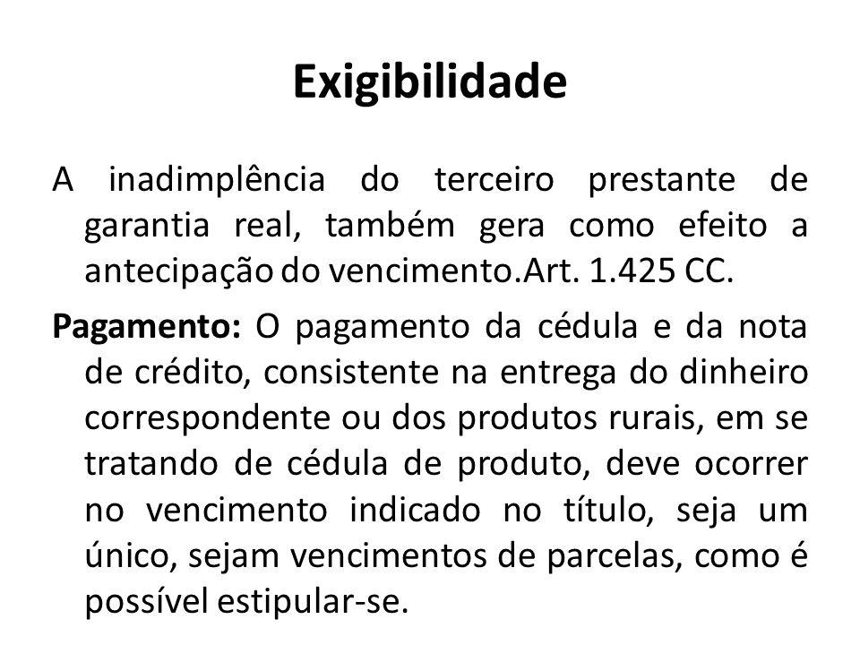 Exigibilidade A inadimplência do terceiro prestante de garantia real, também gera como efeito a antecipação do vencimento.Art. 1.425 CC. Pagamento: O