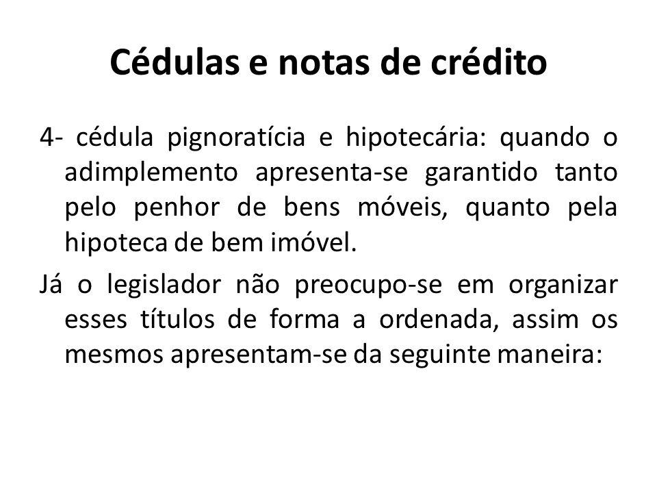 Cédulas e notas de crédito 4- cédula pignoratícia e hipotecária: quando o adimplemento apresenta-se garantido tanto pelo penhor de bens móveis, quanto