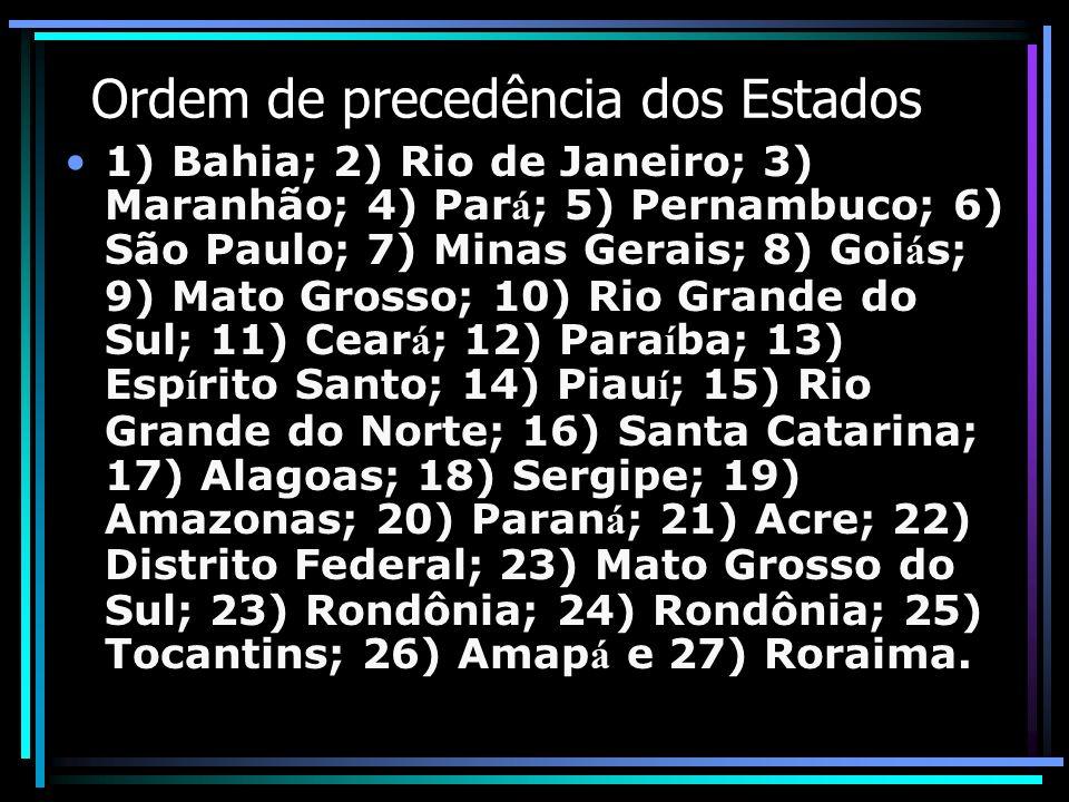 Ordem de precedência dos Estados 1) Bahia; 2) Rio de Janeiro; 3) Maranhão; 4) Par á ; 5) Pernambuco; 6) São Paulo; 7) Minas Gerais; 8) Goi á s; 9) Mat