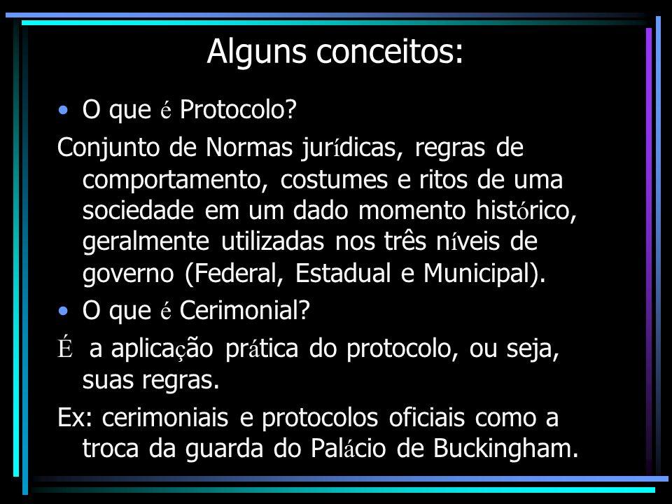 Alguns conceitos: O que é Protocolo? Conjunto de Normas jur í dicas, regras de comportamento, costumes e ritos de uma sociedade em um dado momento his
