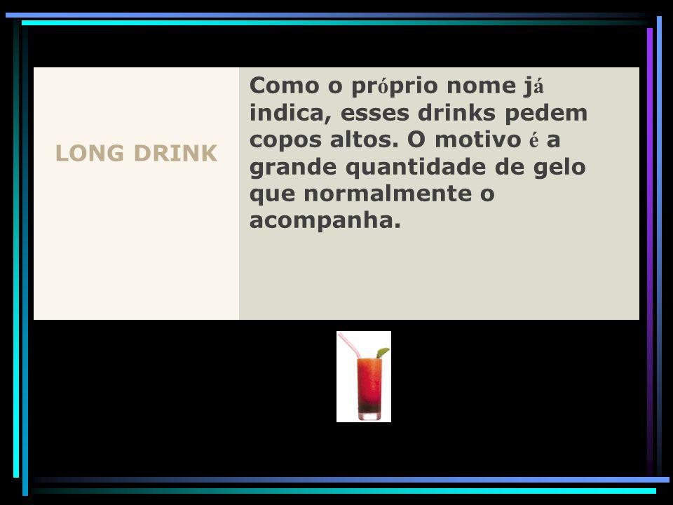 LONG DRINK Como o pr ó prio nome j á indica, esses drinks pedem copos altos. O motivo é a grande quantidade de gelo que normalmente o acompanha.