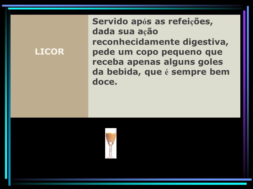 LICOR Servido ap ó s as refei ç ões, dada sua a ç ão reconhecidamente digestiva, pede um copo pequeno que receba apenas alguns goles da bebida, que é