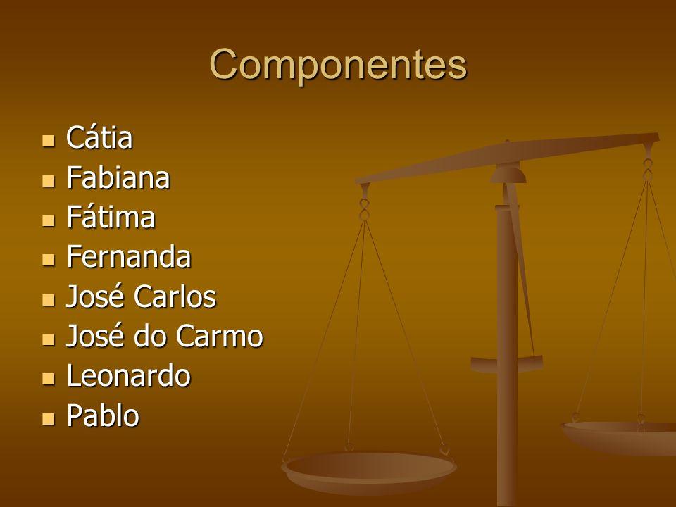 Componentes Cátia Cátia Fabiana Fabiana Fátima Fátima Fernanda Fernanda José Carlos José Carlos José do Carmo José do Carmo Leonardo Leonardo Pablo Pablo