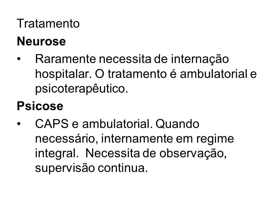 Tratamento Neurose Raramente necessita de internação hospitalar. O tratamento é ambulatorial e psicoterapêutico. Psicose CAPS e ambulatorial. Quando n