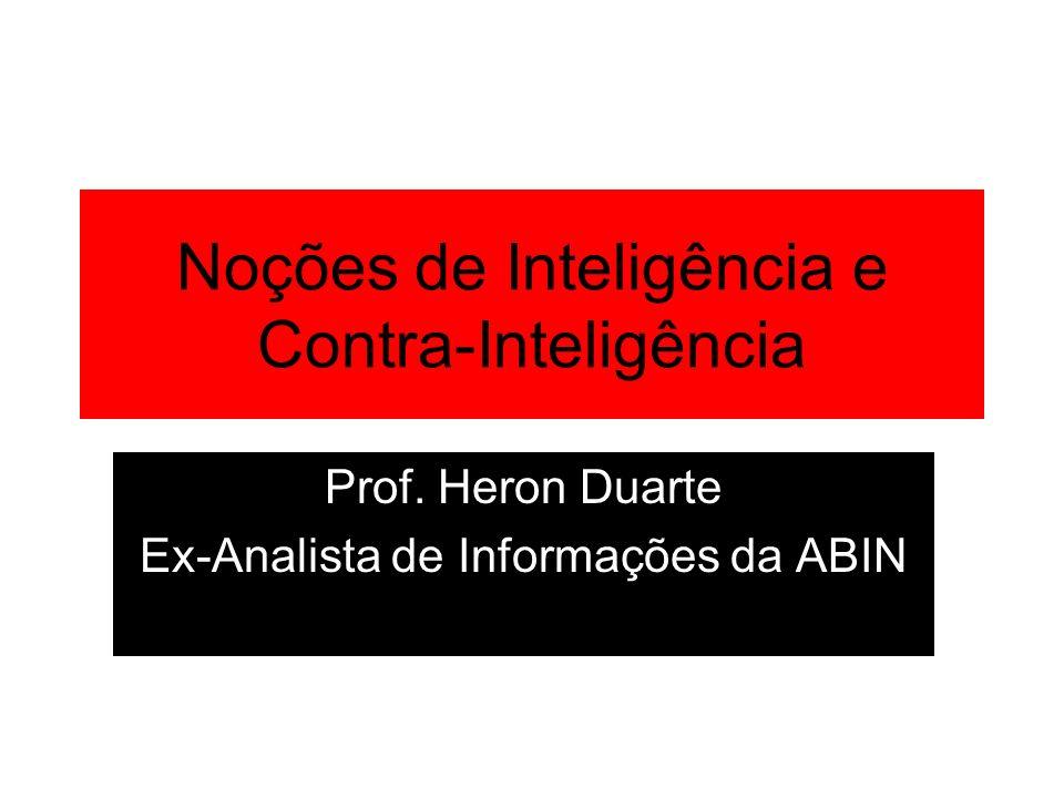 Noções de Inteligência e Contra-Inteligência Prof. Heron Duarte Ex-Analista de Informações da ABIN