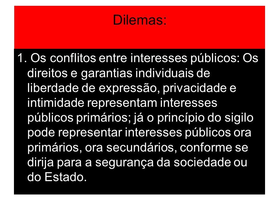 Dilemas: 1. Os conflitos entre interesses públicos: Os direitos e garantias individuais de liberdade de expressão, privacidade e intimidade representa