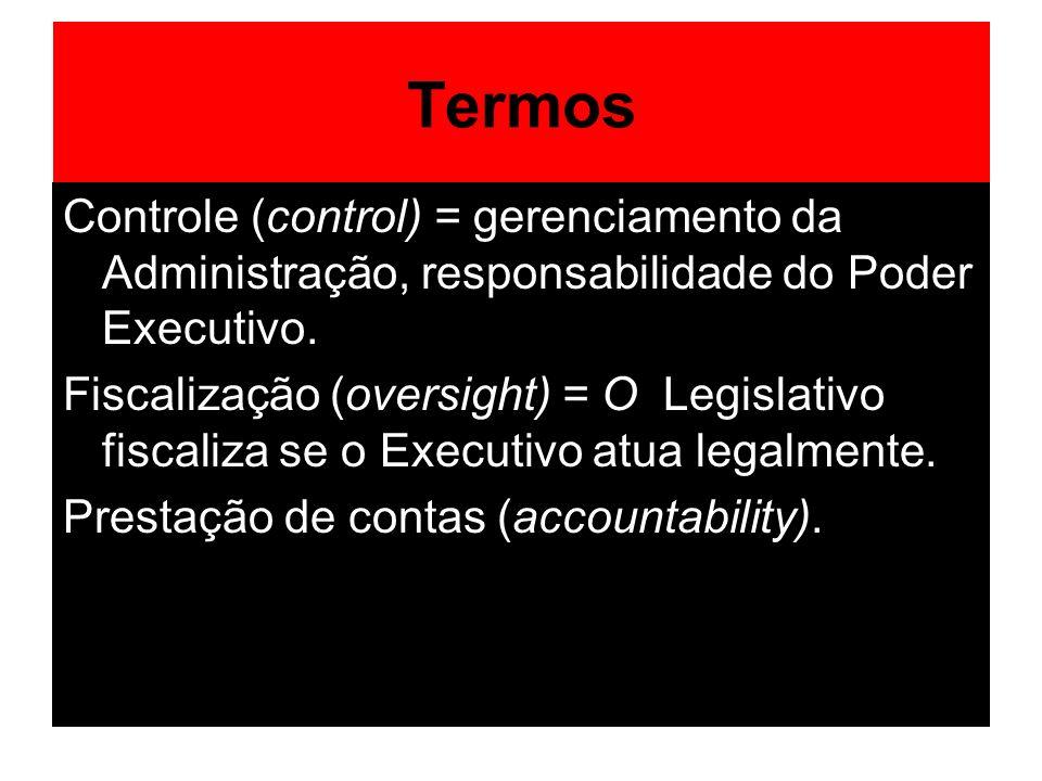 Termos Controle (control) = gerenciamento da Administração, responsabilidade do Poder Executivo. Fiscalização (oversight) = O Legislativo fiscaliza se