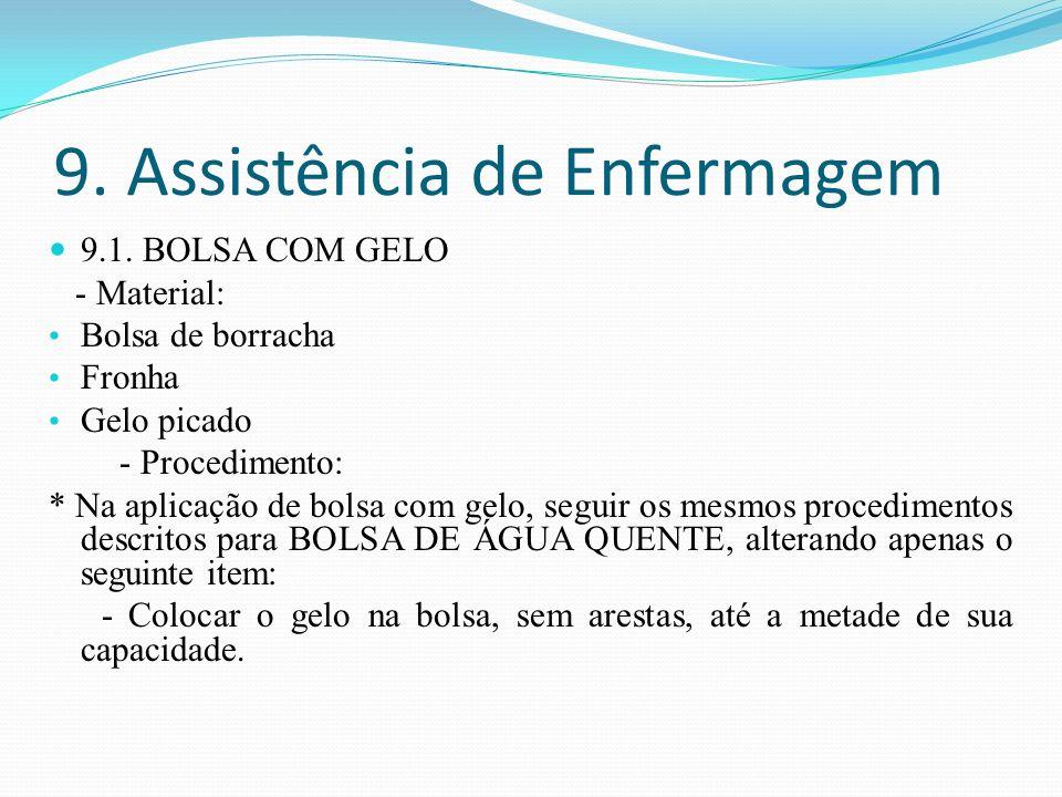 9. Assistência de Enfermagem 9.1. BOLSA COM GELO - Material: Bolsa de borracha Fronha Gelo picado - Procedimento: * Na aplicação de bolsa com gelo, se