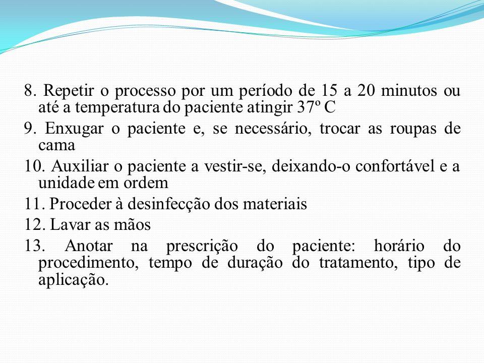 8. Repetir o processo por um período de 15 a 20 minutos ou até a temperatura do paciente atingir 37º C 9. Enxugar o paciente e, se necessário, trocar
