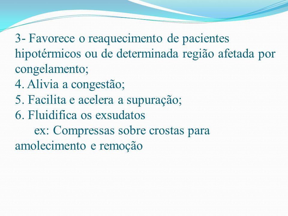 3- Favorece o reaquecimento de pacientes hipotérmicos ou de determinada região afetada por congelamento; 4. Alivia a congestão; 5. Facilita e acelera