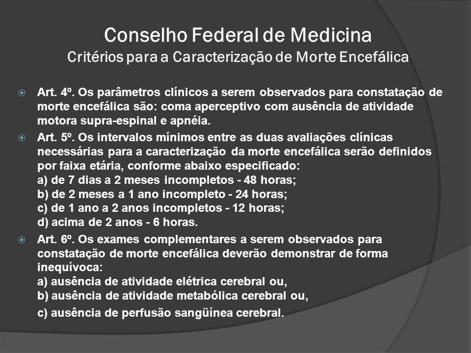 Conselho Federal de Medicina Critérios para a Caracterização de Morte Encefálica Art.