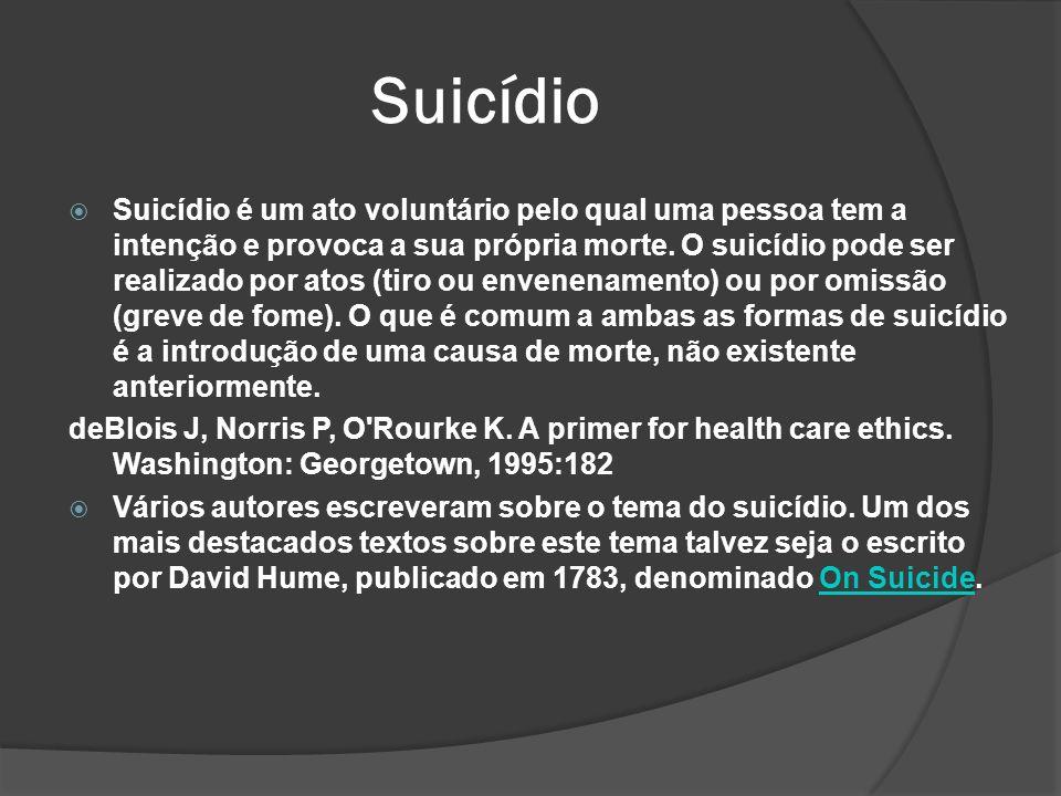 Suicídio Suicídio é um ato voluntário pelo qual uma pessoa tem a intenção e provoca a sua própria morte.