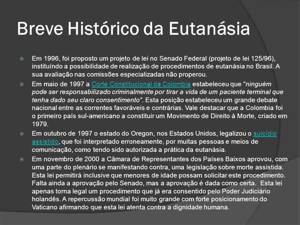 Em 1996, foi proposto um projeto de lei no Senado Federal (projeto de lei 125/96), instituíndo a possibilidade de realização de procedimentos de eutanásia no Brasil.