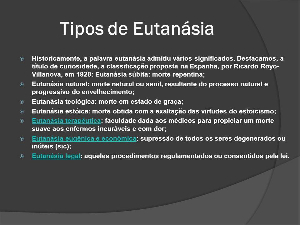 Historicamente, a palavra eutanásia admitiu vários significados.
