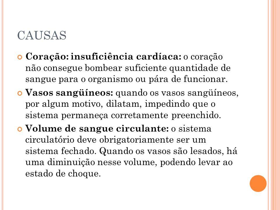 CAUSAS Coração: insuficiência cardíaca: o coração não consegue bombear suficiente quantidade de sangue para o organismo ou pára de funcionar. Vasos sa