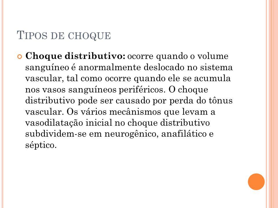 T IPOS DE CHOQUE Choque distributivo: ocorre quando o volume sanguíneo é anormalmente deslocado no sistema vascular, tal como ocorre quando ele se acu