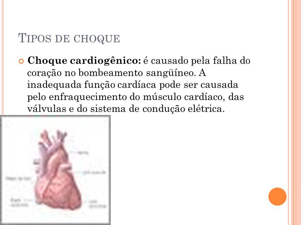 T IPOS DE CHOQUE Choque cardiogênico: é causado pela falha do coração no bombeamento sangüíneo. A inadequada função cardíaca pode ser causada pelo enf