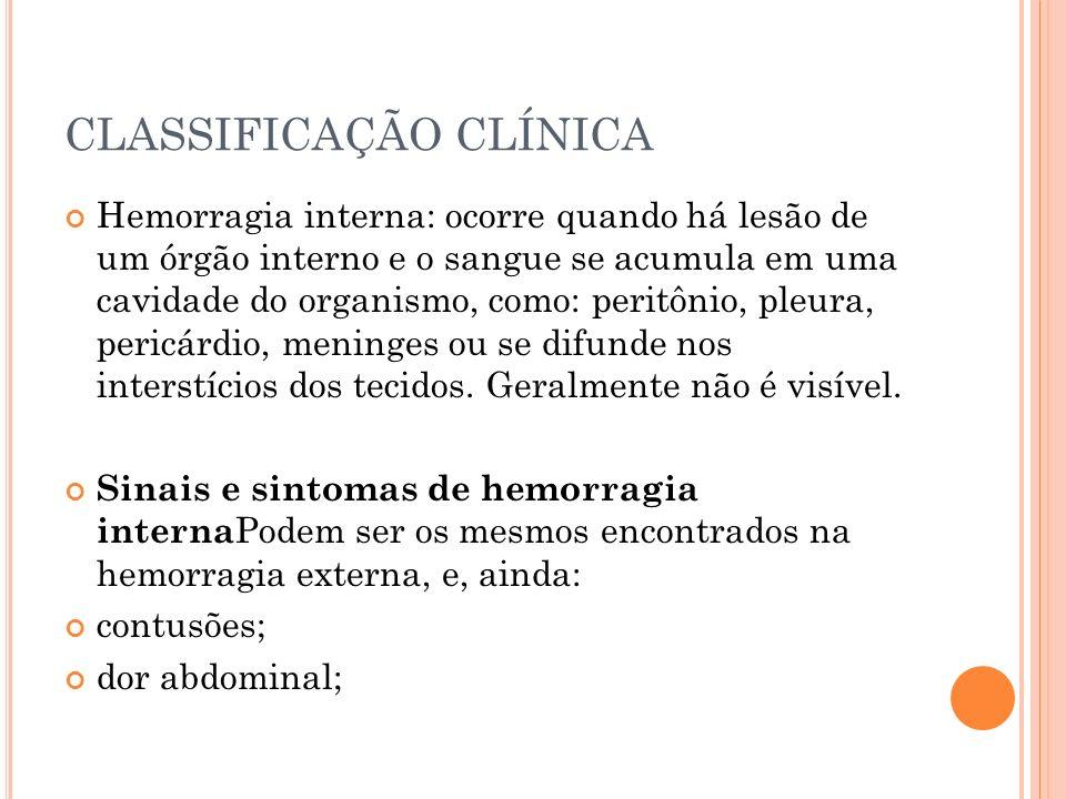CLASSIFICAÇÃO CLÍNICA Hemorragia interna: ocorre quando há lesão de um órgão interno e o sangue se acumula em uma cavidade do organismo, como: peritôn