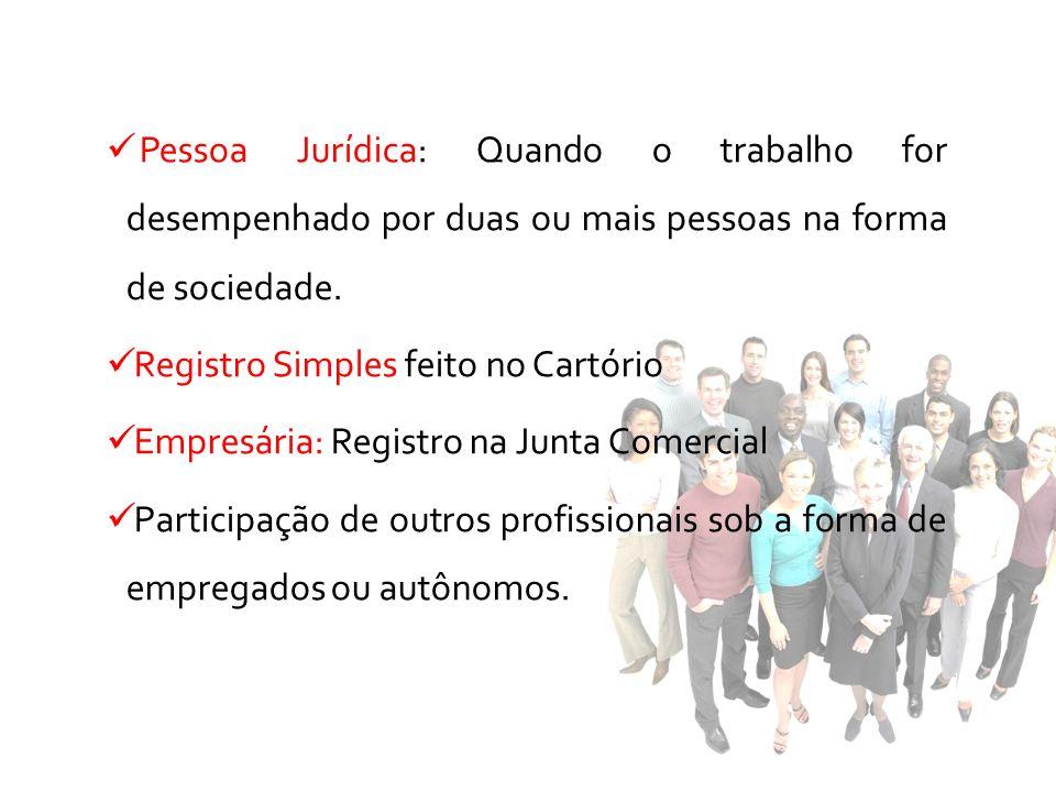 Pessoa Jurídica: Quando o trabalho for desempenhado por duas ou mais pessoas na forma de sociedade. Registro Simples feito no Cartório Empresária: Reg