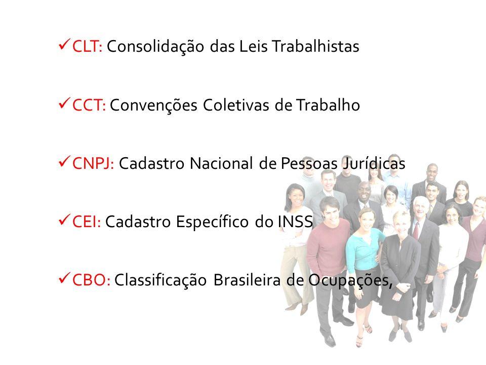 CLT: Consolidação das Leis Trabalhistas CCT: Convenções Coletivas de Trabalho CNPJ: Cadastro Nacional de Pessoas Jurídicas CEI: Cadastro Específico do