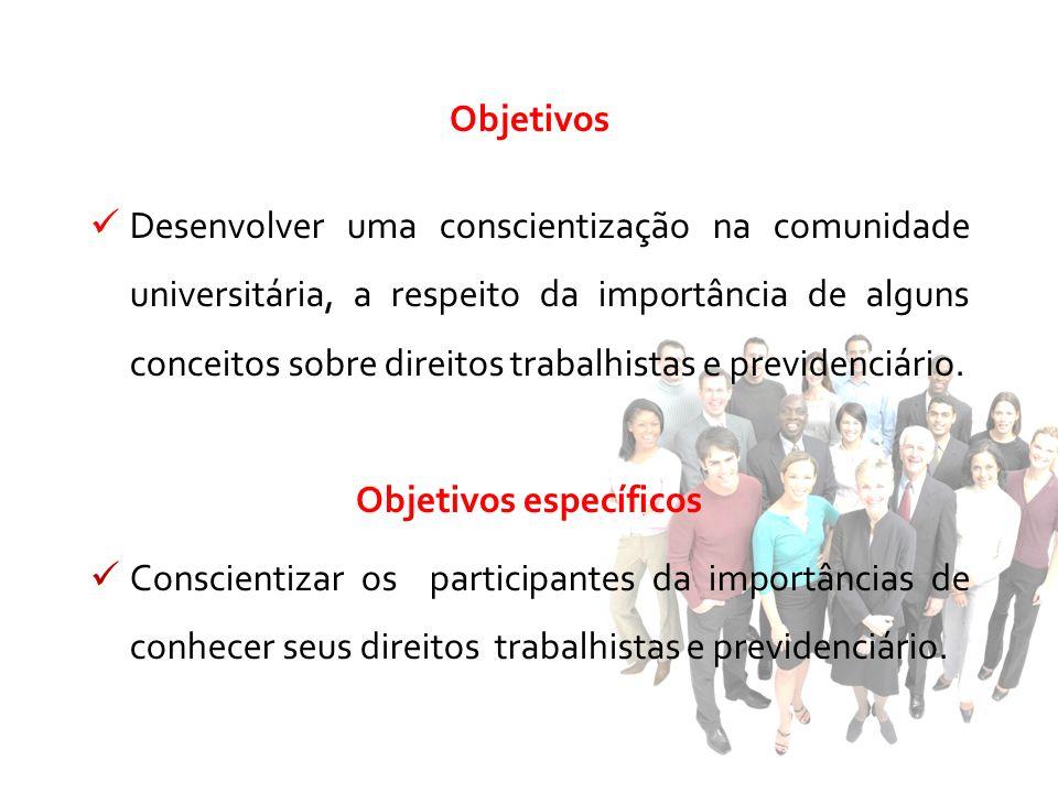 Objetivos Desenvolver uma conscientização na comunidade universitária, a respeito da importância de alguns conceitos sobre direitos trabalhistas e pre