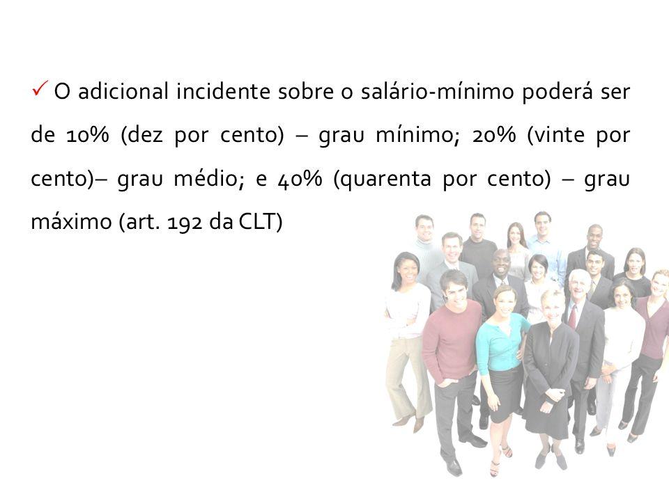 O adicional incidente sobre o salário-mínimo poderá ser de 10% (dez por cento) – grau mínimo; 20% (vinte por cento)– grau médio; e 40% (quarenta por c